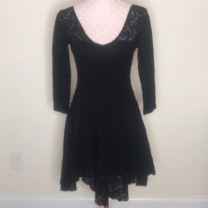 Free People Black Lace 3/4 Length Sleeve Dress XS